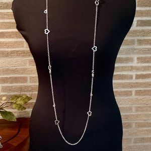 Long delicate silver necklace with ❤️